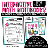 Interactive Notebook Math 5th Grade Number & Operations Fractions