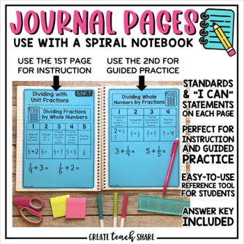 Math Interactive Notebook 5th Grade Number & Operations Fractions