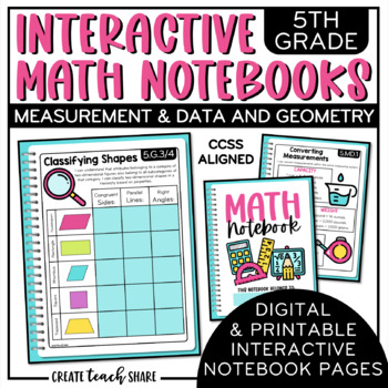 interactive math notebook 5th grade measurement data and geometry. Black Bedroom Furniture Sets. Home Design Ideas