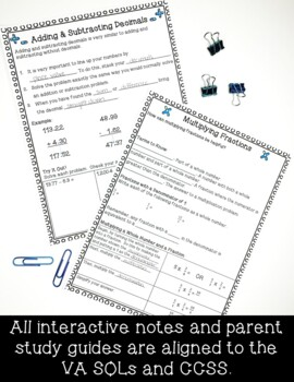 5th Grade Interactive Notes & Parent Study Guides Bundle- ENTIRE YEAR!