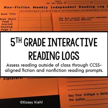 5th Grade Interactive Reading Log {Common Core Aligned}