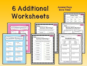 5th Grade Interactive Vocabulary Task Cards Quiz Printables Unit 1A