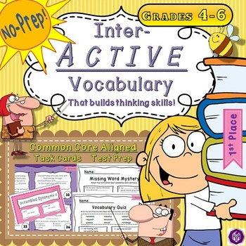 5th Grade Interactive Vocabulary Task Cards Quiz Printable