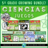 5th Grade JUEGOS DE CIENCIAS Review in Spanish for STAAR | Growing Bundle