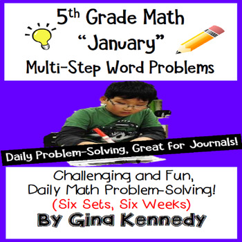 Daily Problem Solving for 5th Grade: January Word Problems (Multi-step)