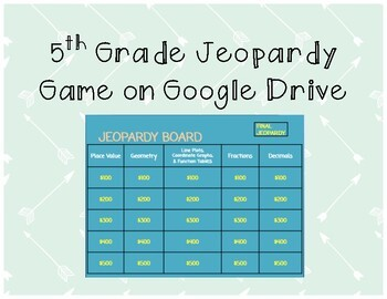 5th Grade Jeopardy Game on Google Drive