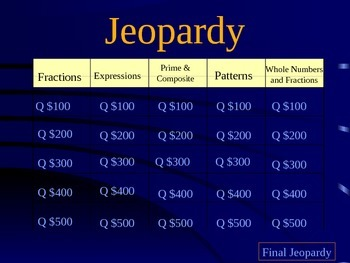 5th Grade Jeopardy Mixed Review