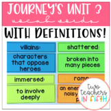 5th Grade Journey's Unit 3 Vocabulary Words and Definitions Cards