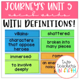 5th Grade Journey's Unit 5 Vocabulary Words and Definitions Cards