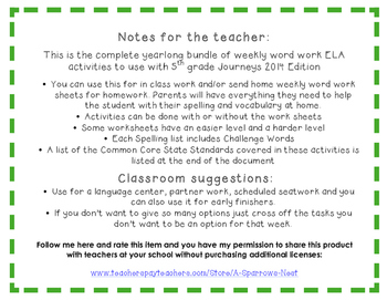 5th Grade Journeys 2014 Spelling Vocabulary ELA Activity Yearlong Bundle