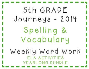 5th Grade Journeys 2014 Spelling Vocabulary ELA Activity Y
