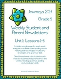 5th Grade Journeys, Unit 1 Weekly Newsletters
