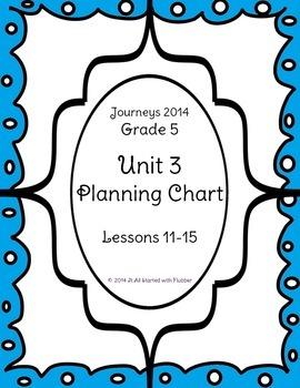 5th Grade Journeys, Unit 3 Skills Planning Chart