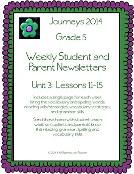 5th Grade Journeys, Unit 3 Weekly Newsletters
