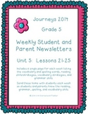 5th Grade Journeys, Unit 5 Weekly Newsletters