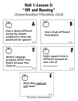 5th Grade Journeys:  Comprehension Discussion Cards for All 30 Lessons!