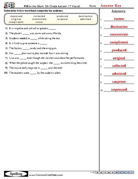 5th Grade Journeys Lesson 17 Vocabulary Practice