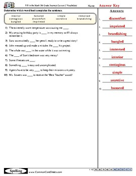 5th Grade Journeys Lesson 2 Vocabulary Practice