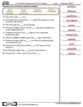 5th Grade Journeys Lesson 4 Vocabulary Practice
