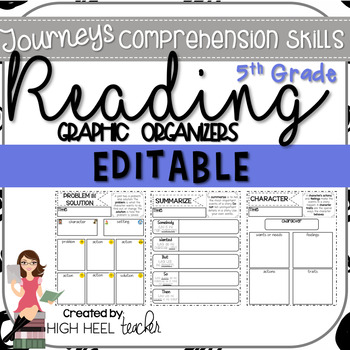 5th Grade Journeys Reading Skills Graphic Organizers {EDITABLE}