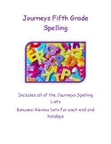5th Grade Journeys Spelling Lists-Year Long Spelling Lists