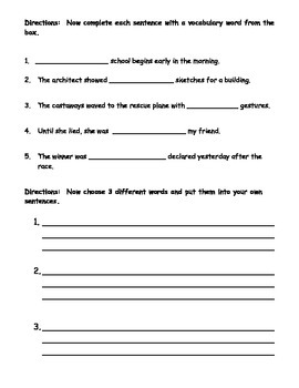 5th Grade Journey's Vocabulary Worksheets Lessons 1-15