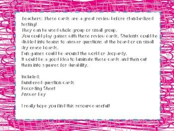 5th Grade LA Test Prep Review Question Cards CC, GA Milestones