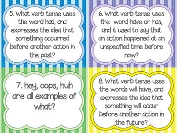 5th Grade LA Test Prep Review Question Cards CC, GA Milestones