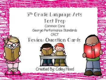 5th Grade LA Test Prep Review Question Cards CRCT, CC, GA