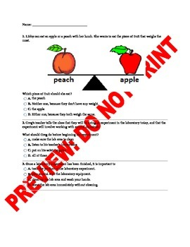 5th Grade Lab Tools & Safety Assessment/Handout