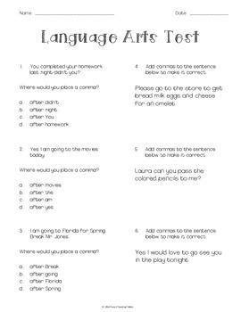 5th Grade Lang Arts Test - commas, affixes, conj., interjection, preposition