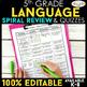 5th Grade Language Arts BUNDLE | Spiral Review, Games & Quizzes | ENTIRE YEAR