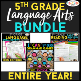 5th Grade Language Arts BUNDLE | Spiral Review, Games & Qu