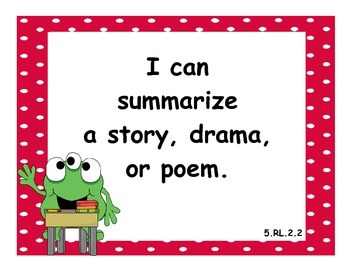 5th Grade Language Arts CCSS I Can Statements - Monster Theme