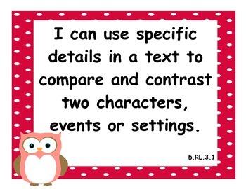 5th Grade Language Arts CCSS I Can Statements - Owl Theme