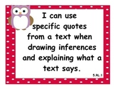 5th Grade Language Arts CCSS I Can Statements - Owl Theme