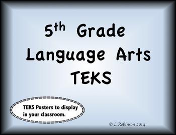 5th Grade Language Arts TEKS  We will Posters (Black Border, Blue inset)