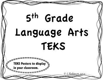 5th Grade Language Arts TEKS We will... Statements (Wave Border)