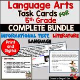 5th Grade Language Arts Task Card Bundle plus TPT Digital Overlay