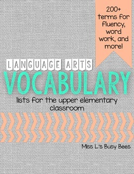 200+ terms! Language Arts Vocabulary Lists for Word Work a