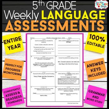 5th Grade Language Assessments   5th Grade Grammar Quizzes EDITABLE