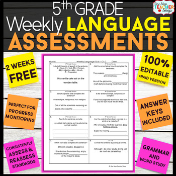 5th Grade Language Assessments or Grammar Quizzes FREE