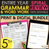 5th Grade Language (Grammar) Spiral Review & Quizzes   DIG