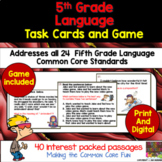 5th Grade Language Task Cards and Game