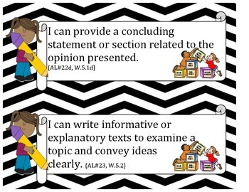 5th Grade Language and Writing I CAN statements for Common Core