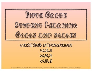 5th Grade Writing Learning Goals and Scales - No Prep!