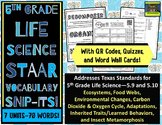 5th Grade Life Science STAAR-Adaptations, Food Webs, Carbon Oxygen Cycle *PDF