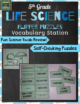 5th Grade Life Science STAAR Puzzles-Adaptations, Food Webs, Carbon Oxygen Cycle