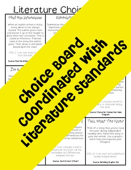 5th Grade Literature Choice Board with Graphic Aids- Task Card Option Included