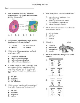 5th Grade Living Systems unit Test